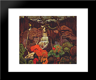 Algoma Waterfall: Modern Black Framed Art Print by J. E. H. MacDonald