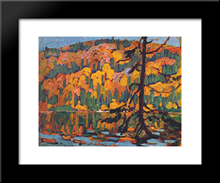 Autumn Algoma: Modern Black Framed Art Print by J. E. H. MacDonald
