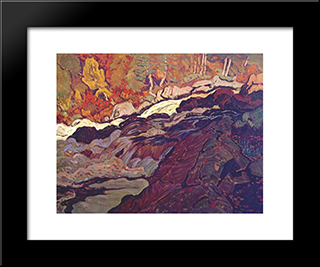 Batchawana Rapid: Modern Black Framed Art Print by J. E. H. MacDonald