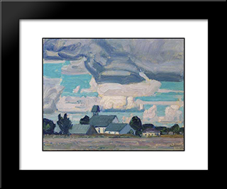 Cloudy Sky, Thornhill Church: Modern Black Framed Art Print by J. E. H. MacDonald
