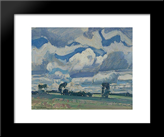 Fields And Sky: Modern Black Framed Art Print by J. E. H. MacDonald