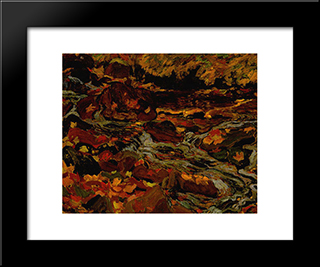 Leaves In The Brook: Modern Black Framed Art Print by J. E. H. MacDonald
