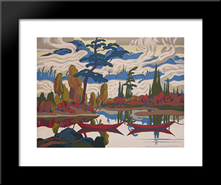 Mist Fantasy: Modern Black Framed Art Print by J. E. H. MacDonald