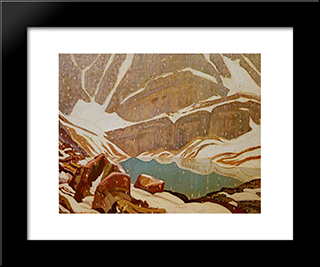 Mountain Snowfall, Lake Oesa: Modern Black Framed Art Print by J. E. H. MacDonald