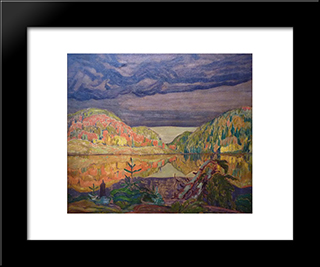 October Shower Gleam: Modern Black Framed Art Print by J. E. H. MacDonald