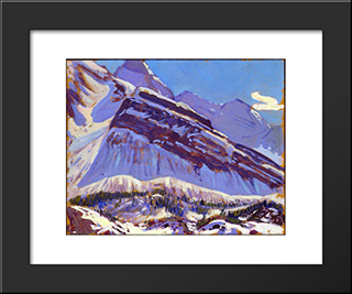 September Snow On Mount Schaffer: Modern Black Framed Art Print by J. E. H. MacDonald