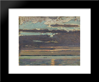 Sunset, Lake Simcoe: Modern Black Framed Art Print by J. E. H. MacDonald