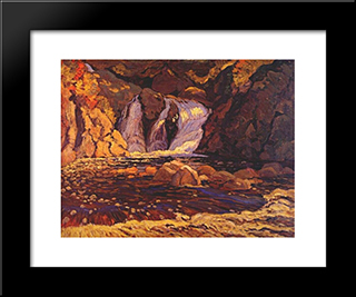 The Little Falls: Modern Black Framed Art Print by J. E. H. MacDonald