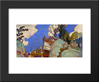 The Supply Boat: Modern Black Framed Art Print by J. E. H. MacDonald