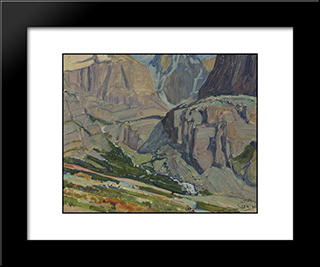 Valley And Stream, Oesa Trail, Lake O'Hara: Modern Black Framed Art Print by J. E. H. MacDonald