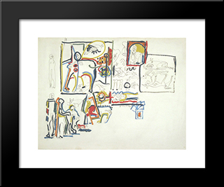 Animals And Figures: Modern Black Framed Art Print by Jackson Pollock