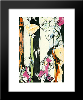 Easter And The Totem: Modern Black Framed Art Print by Jackson Pollock