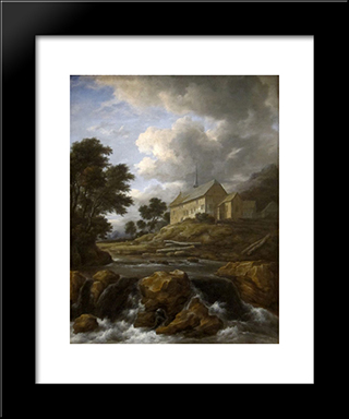Landscape With A Church By A Torrent: Modern Black Framed Art Print by Jacob Isaakszoon van Ruisdael