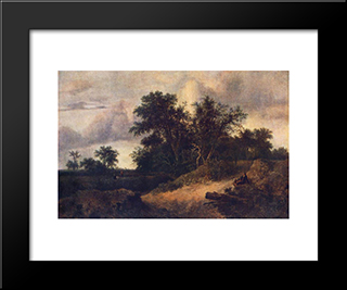 Landscape With A House In The Grove: Modern Black Framed Art Print by Jacob Isaakszoon van Ruisdael