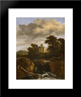 Landscape With A Waterfall And Castle: Modern Black Framed Art Print by Jacob Isaakszoon van Ruisdael