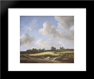Landscape With A Wheatfield: Modern Black Framed Art Print by Jacob Isaakszoon van Ruisdael