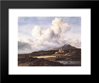 The Ray Of Sunlight: Modern Black Framed Art Print by Jacob Isaakszoon van Ruisdael