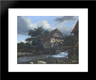 Two Watermills And An Open Sluice: Modern Black Framed Art Print by Jacob Isaakszoon van Ruisdael