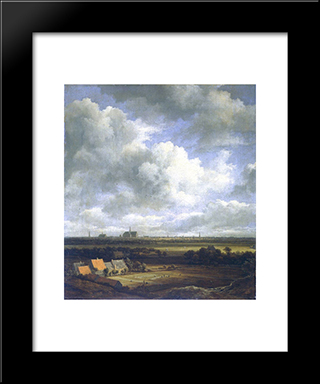 View Of Haarlem With Bleaching Fields In The Foreground: Modern Black Framed Art Print by Jacob Isaakszoon van Ruisdael