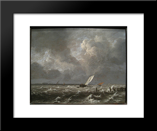 View Of The Ij On A Stormy Day: Modern Black Framed Art Print by Jacob Isaakszoon van Ruisdael