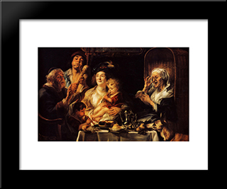 As The Old Sang, So The Young Pipe: Modern Black Framed Art Print by Jacob Jordaens