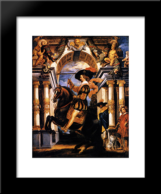Cavalier Executing A Levade, In Front Of A Portal: Modern Black Framed Art Print by Jacob Jordaens