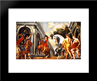 Levade Performed Under The Auspices Of Mars And In The Presence Of Mercury, Venus And A Squire: Modern Black Framed Art Print by Jacob Jordaens