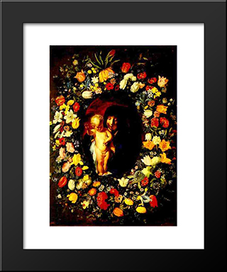 Madonna And Child Wreathed With Flowers: Modern Black Framed Art Print by Jacob Jordaens