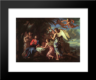 Christ Served By The Angels: Modern Black Framed Art Print by Jacques Stella