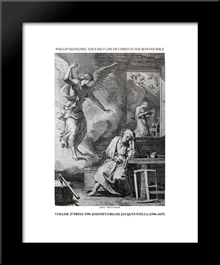 Early Life Of Christ In The Bowyer Bible Print 9 Of 21. Dream Of Saint Joseph: Modern Black Framed Art Print by Jacques Stella