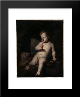 Infant St. John The Baptist: Modern Black Framed Art Print by Jacques Stella