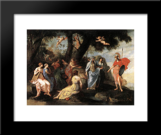 Minerva With The Muses: Modern Black Framed Art Print by Jacques Stella