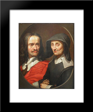 Portrait Of Jacques Stella And Her Mother, Claudine De Masso: Modern Black Framed Art Print by Jacques Stella