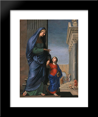 Sainte Anne Leading The Virgin In The Temple: Modern Black Framed Art Print by Jacques Stella