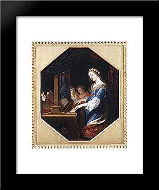 Sainte Cecile Playing The Organ: Modern Black Framed Art Print by Jacques Stella