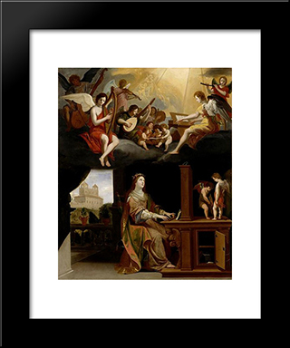 St. Cecilia: Modern Black Framed Art Print by Jacques Stella