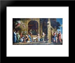 The Birth Of The Virgin: Modern Black Framed Art Print by Jacques Stella