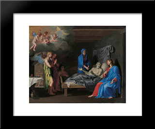 The Death Of Saint Joseph: Modern Black Framed Art Print by Jacques Stella