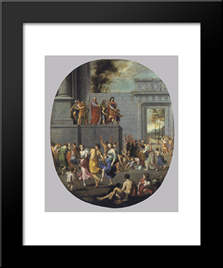The Liberality Of Louis Xiii And Cardinal Richelieu: Modern Black Framed Art Print by Jacques Stella