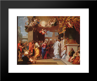 The Marriage Of The Virgin: Modern Black Framed Art Print by Jacques Stella