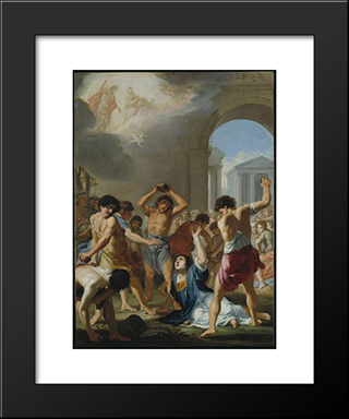 The Martyrdom Of St Stephen: Modern Black Framed Art Print by Jacques Stella