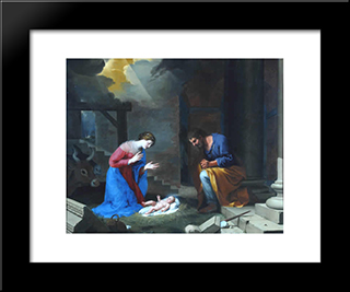 The Nativity: Modern Black Framed Art Print by Jacques Stella
