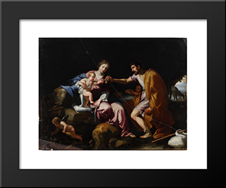 The Rest On The Flight Into Egypt: Modern Black Framed Art Print by Jacques Stella