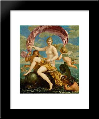 The Triumph Of Galatea: Modern Black Framed Art Print by Jacques Stella