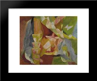 Abstract Figure In A Landscape: Modern Black Framed Art Print by Jacques Villon
