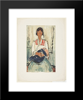 L'Italienne, After Modigliani: Modern Black Framed Art Print by Jacques Villon