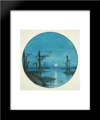 Bayou In Moonlight: Modern Black Framed Art Print by James Hamilton