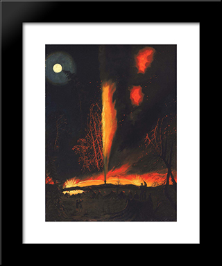 Burning Oil Well At Night, Near Rouseville, Pennsylvania: Modern Black Framed Art Print by James Hamilton