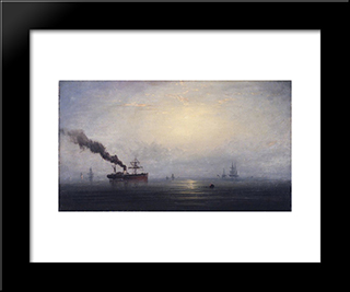 Foggy Morning On The Thames: Modern Black Framed Art Print by James Hamilton