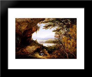 Scene On The Hudson (Rip Van Winkle): Modern Black Framed Art Print by James Hamilton